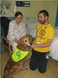 Graham with PAT dog Lucy and stroke patient at RSCH