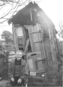Pam 'at home' on her allotment