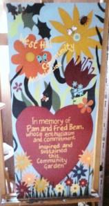 Pam Bean's plaque
