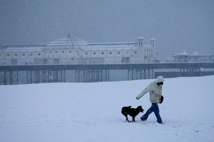 Snow on Brighton Beach by Mark Baynes