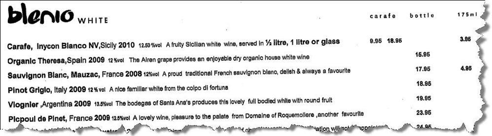 Blenio wine list