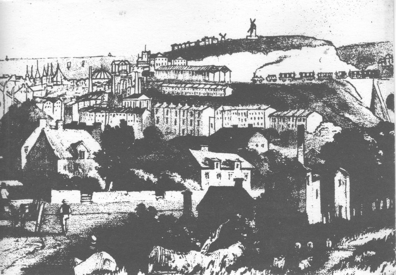 View of Brighton from Road Hill North c 1850 To the right of the Pavilion and Dome see the West Hill, with St Nicholas Church, Hudson's mill between Albert Road and West Hill Road, and the new railway