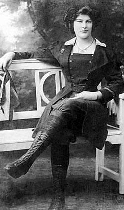Dolly Shepherd in her parachuting costume c.1910