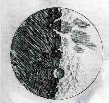 The first published detailed map of the moon rendered by the use of the telescope, made by Galileo and published in his 'Siderius Nuncius' in 1610.