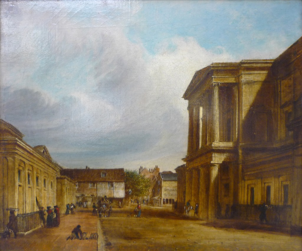 """""""The Town Hall, Brighton"""" by Edward Fox, showing a view of Brighton Town Hall with figures in the street and a blue sky with sweeping cloud above. c.1840"""